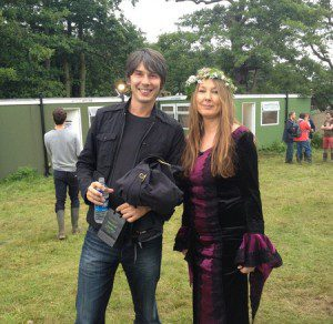 Dee having fun with Prof Brian Cox at the Lattitude Festival